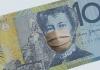 Australian 10 dollar bill with face mask.