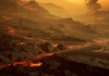 Artist's impression of the rocky terrain and lava rivers on the surface of Gliese 486b