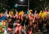 Mardi gras marchers lead the parade