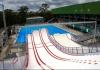 Ski ramps above swimming pool