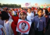 People in Mandalay city congregate to support Aung San Suu Kyi.
