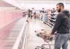 Empty super market shelves