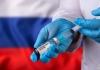 coronavirus vaccine with Russia flag