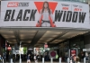 A 'Black Widow' poster at Arndale shopping centre in Manchester, UK.