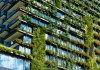 Skyscraper apartment building with vertical garden running down facade