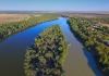 Aerial view of Murray Darling Junction with flood waters flowing in near Lock 10. Location Wentworth