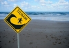 Tsunami sign on beach
