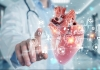 Cardiologist on blurred background using digital x-ray of human heart holographic scan projection 3D rendering