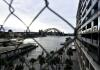 Sydney Harbour Bridge behind a chain link fence