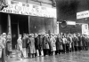 Unemployed men queued outside a soup kitchen during the Great Depression