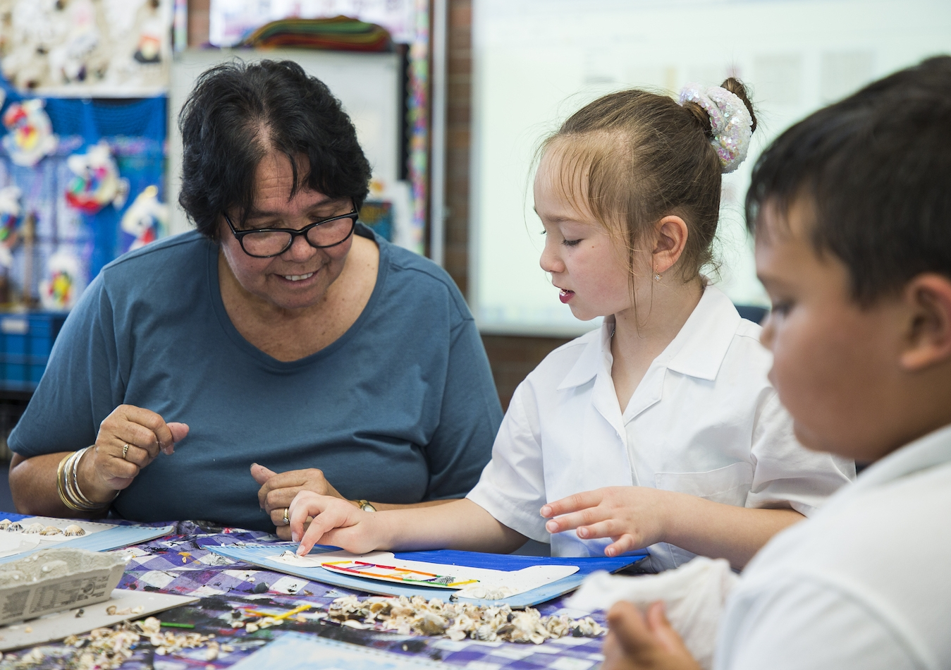 Aunty Maxine Ryan, a local Dharawal woman from La Perouse, works as a Cultural Resident in four schools in Sydney's eastern suburbs. Photo: Katherine Thompson.
