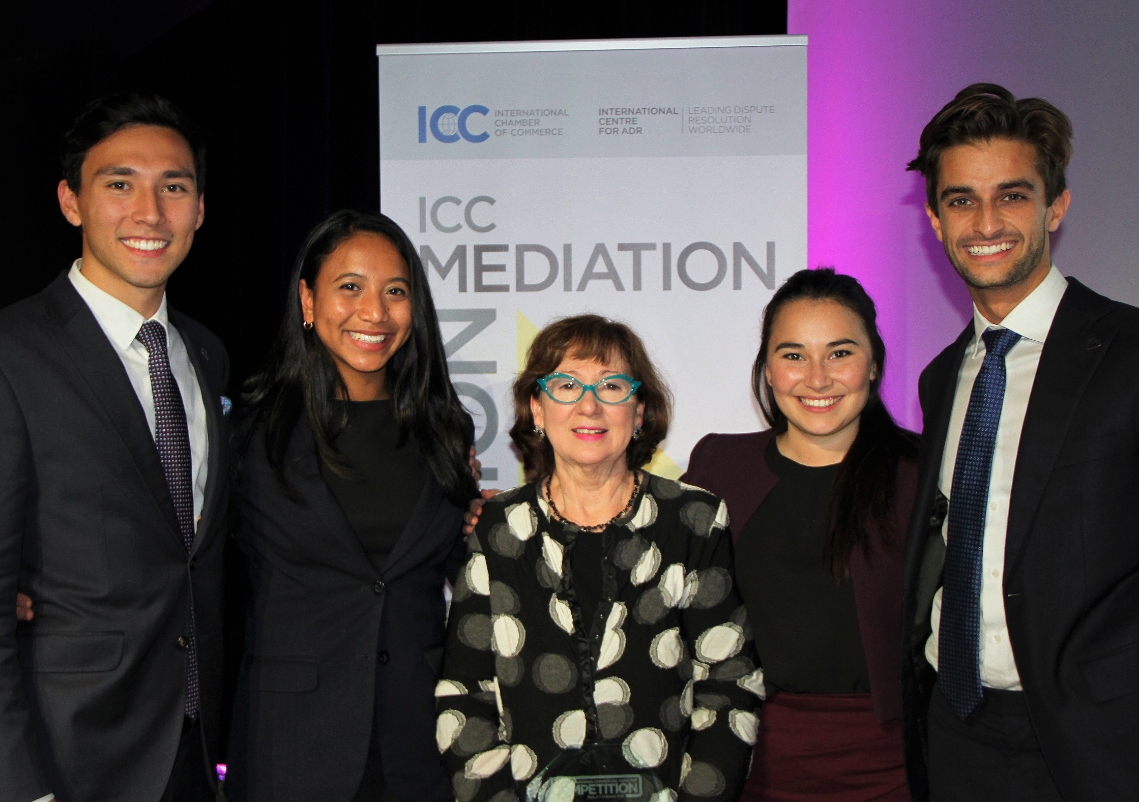 Winning team: (From left) Jack Rathie, Nadhirah Daud, team coach Dr Rosemary Howell, Brittany Young and Nanak Narulla. Photo: ICC