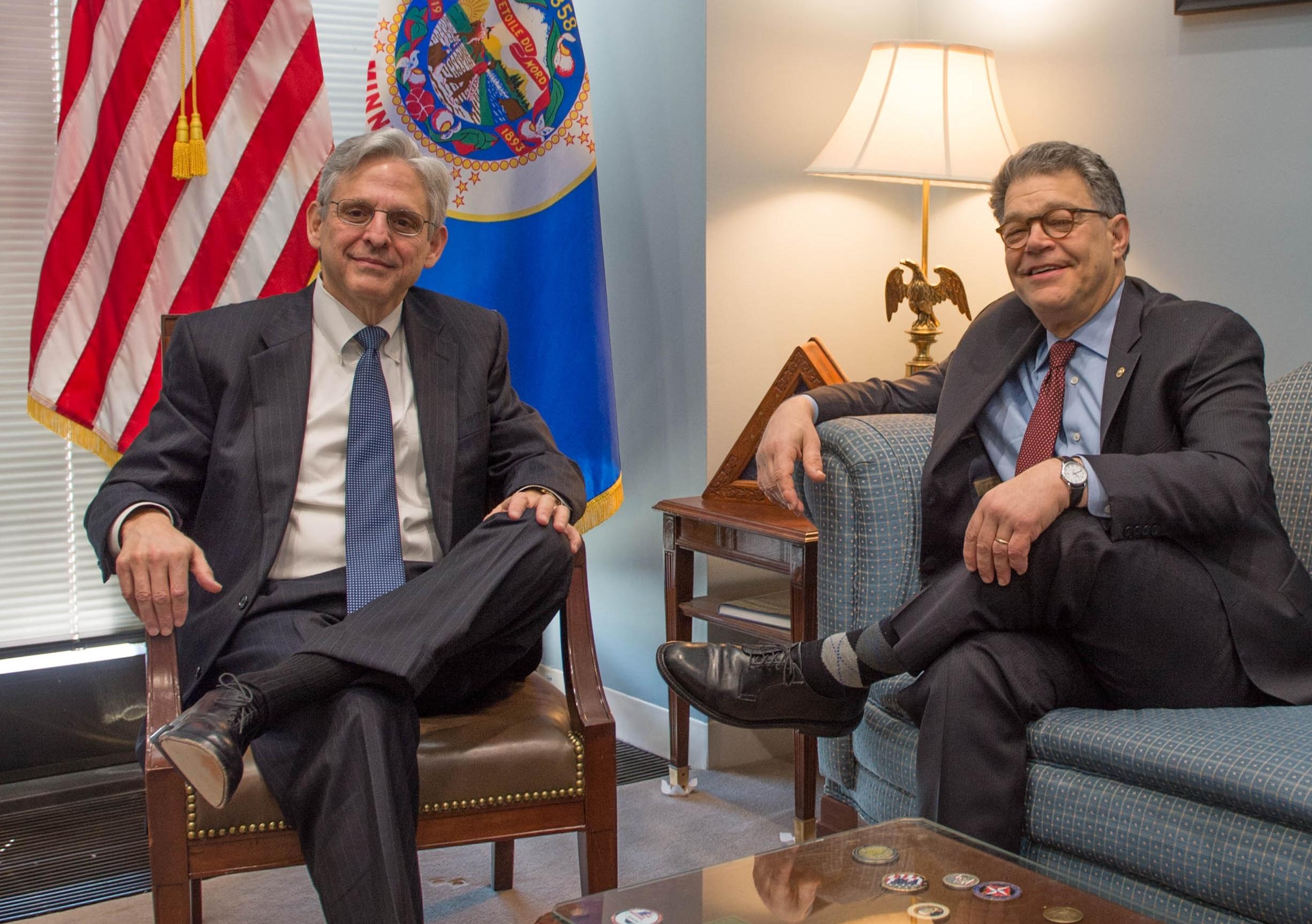 Senator Franken meets with Judge Merrick Garland. Image: Senate Democrats / Flickr CC BY 2.0