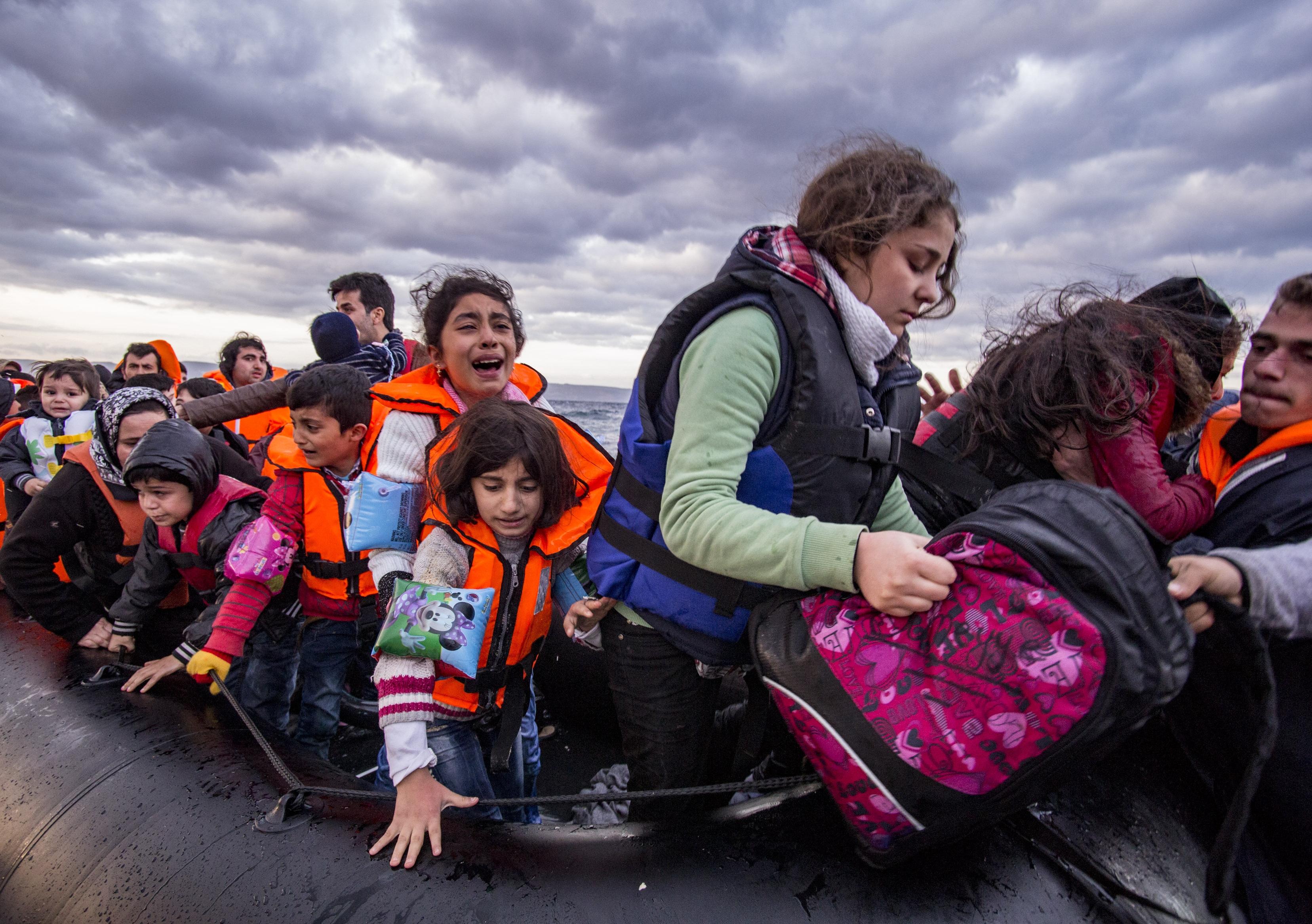 Syrian asylum seekers arrive on Lesvos island, Greece, in October 2015: Photo: Nicolas Economou / Shutterstock.com