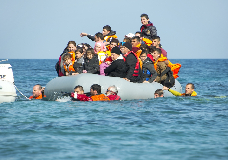 Refugees arriving in Greece in dinghy boat from Turkey in 2016. Photo: Shutterstock