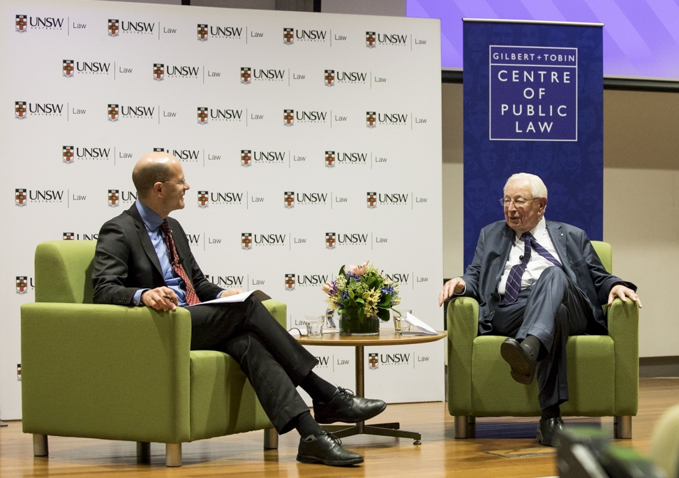 Professor George Williams and Sir Anthony Mason in conversation.