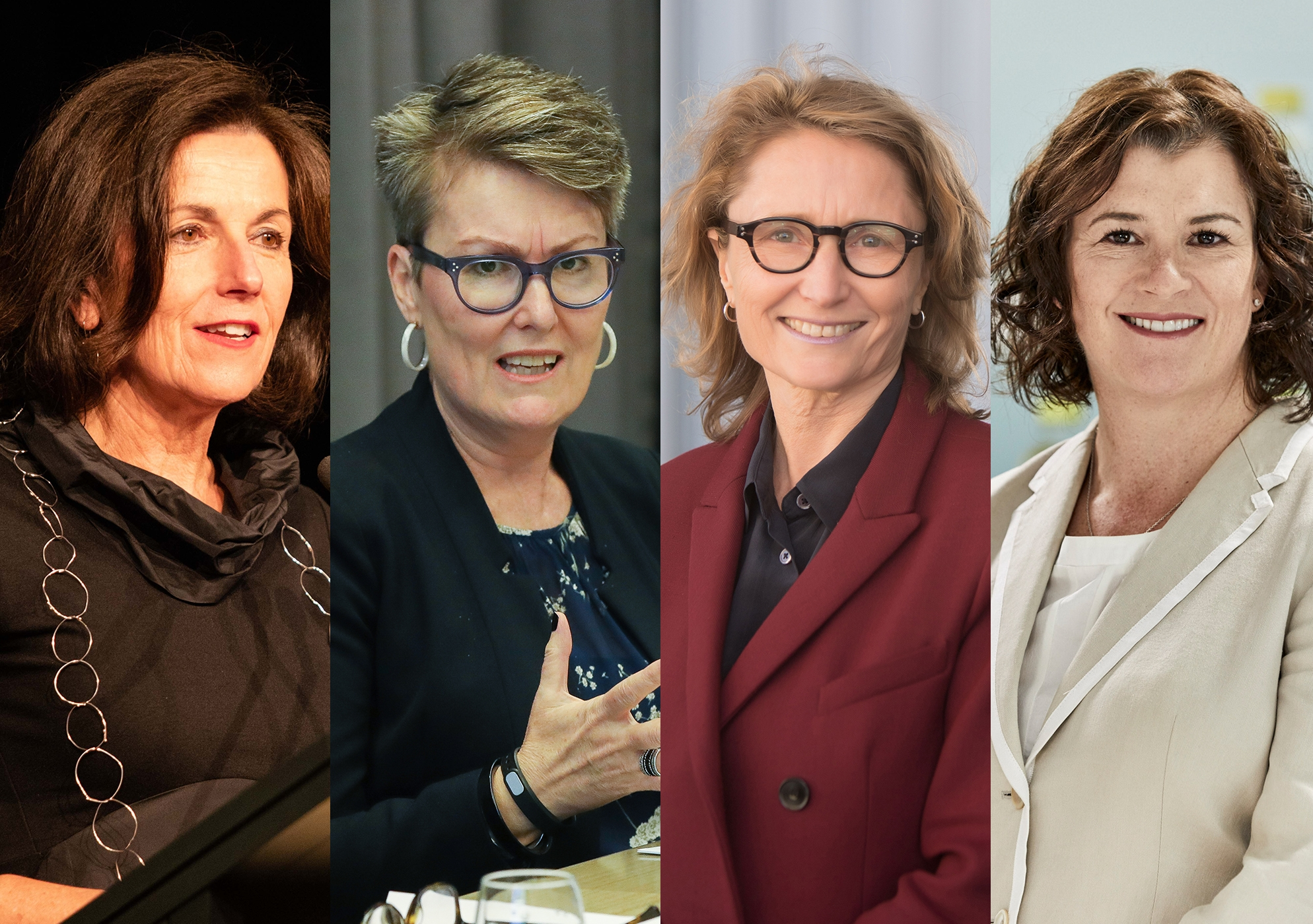 Four UNSW academics have been named to the 2019 AFR Women of Influence list. From left, Professor Helen Lochhead, Dean of UNSW Built Environment; Professor Louise Chappell, Director of the Australian Human Rights Institute; Robyn Norton, Professor of Public Health and principal director of the George Institute for Global Health; and Tracey O'Brien, Associate Professor in paediatrics and director of the Kids Cancer Centre at Sydney Children's Hospital.