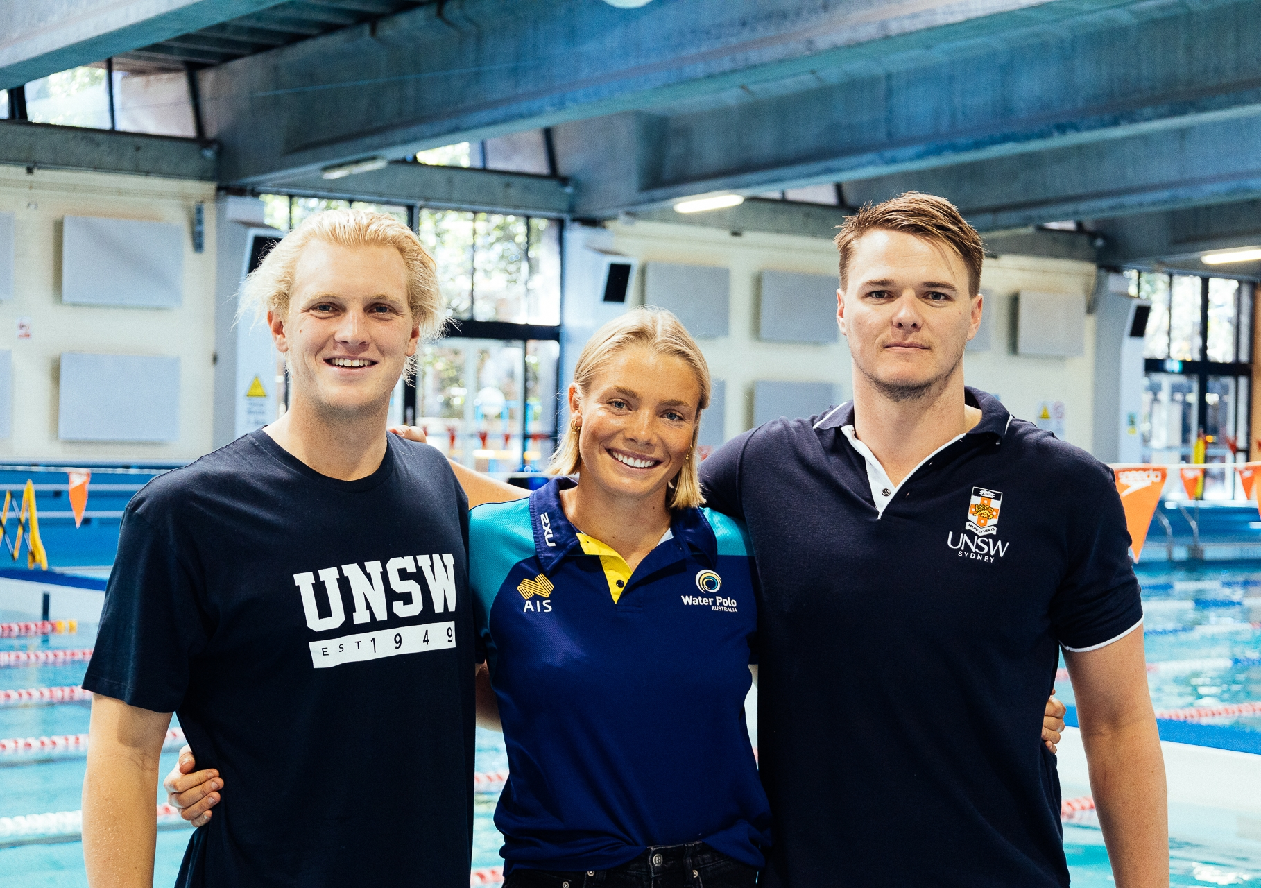Eight UNSW students, including water polo players (L-R) Tim Putt, Amy Ridge and Nathan Power, and four alumni will compete at the Tokyo Olympics. Photo: Arc UNSW