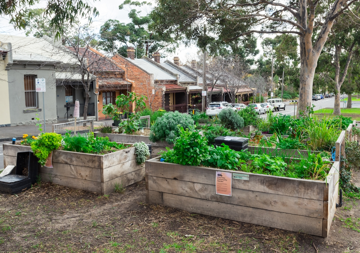 Innovative use of space: a blossoming community garden in the street. Photo: Shutterstock.