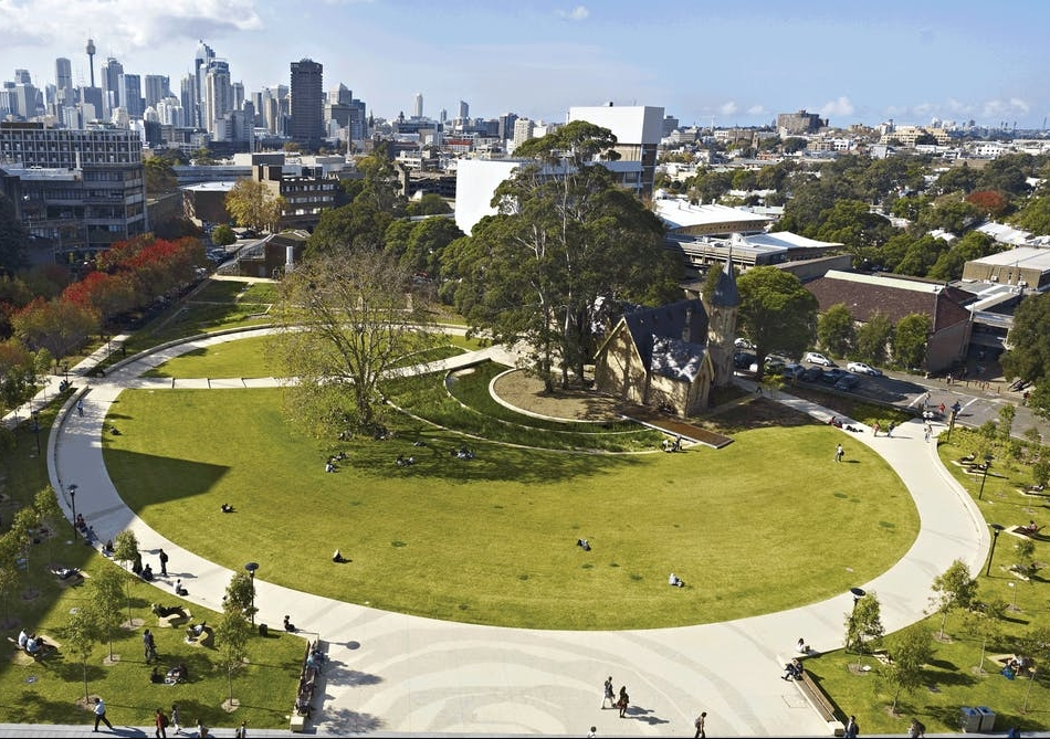 An Aboriginal hunting ground is acknowledged in Cadigal Green, University of Sydney, by landscape architects Taylor Cullity Lethlean with Paul Thompson and Paul Carter, 2009.