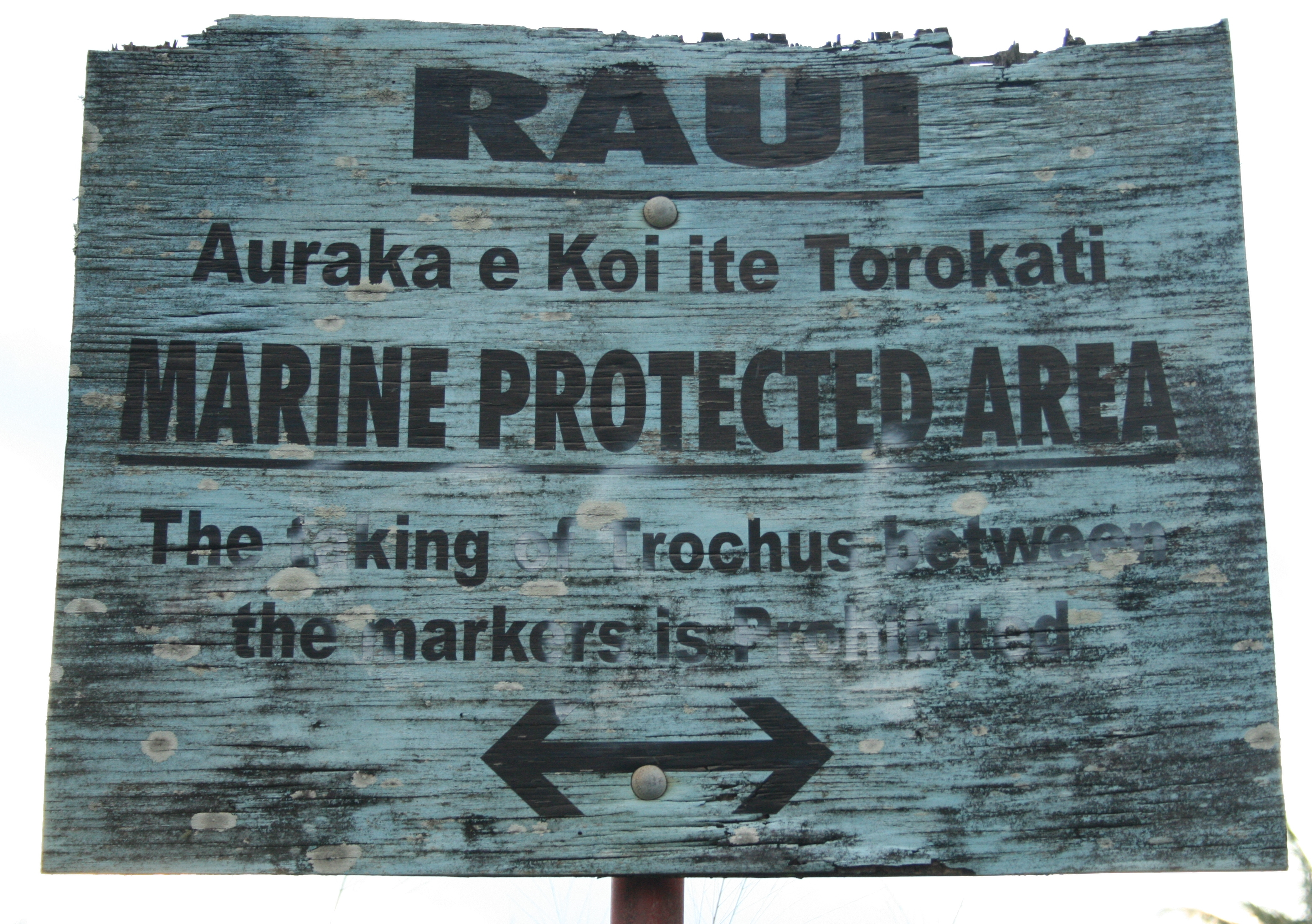 A sign prohibiting activity within a marine protected area in the Cook Islands