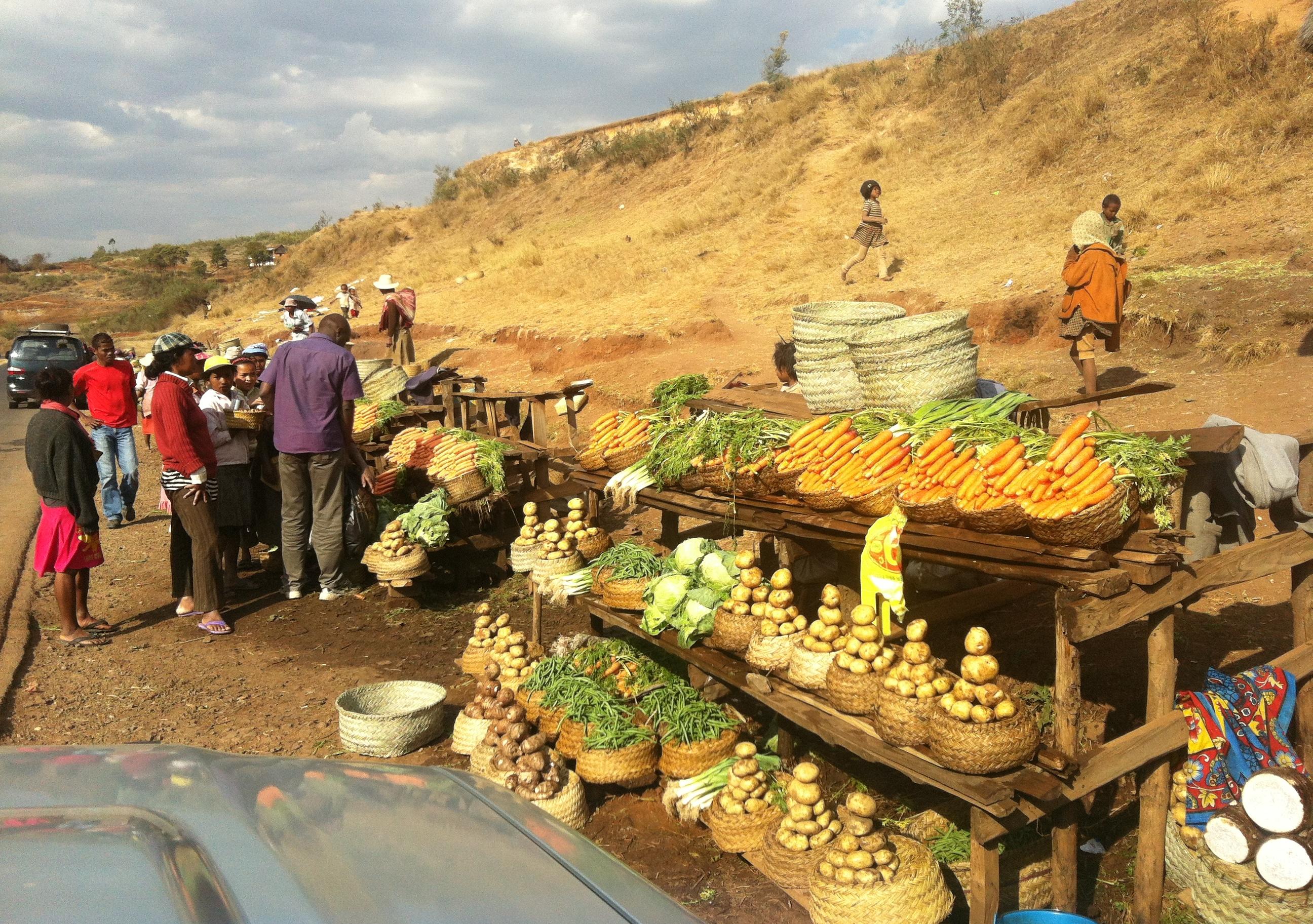 Roadside food stalls in Madagascar