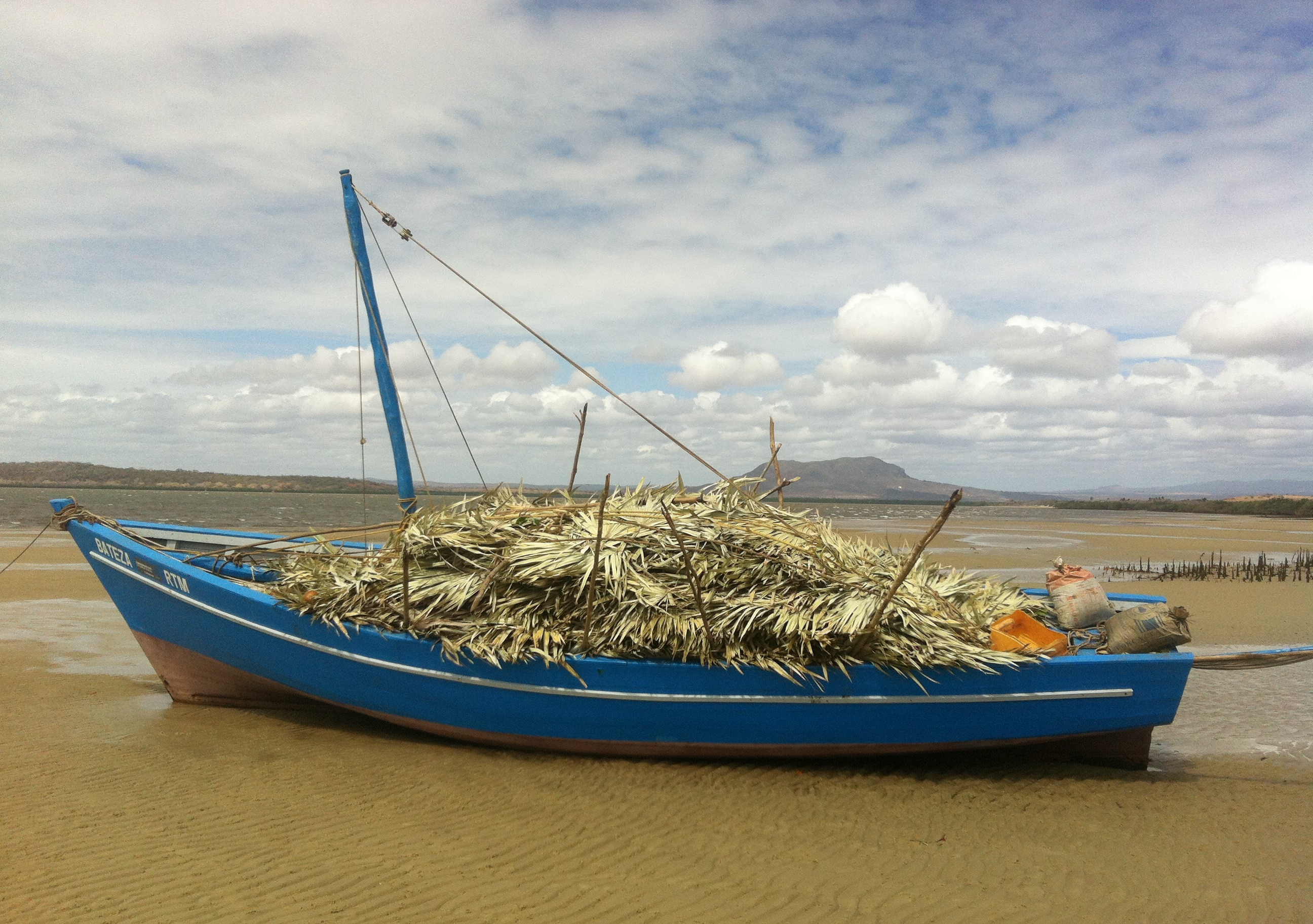 A boat in shallow water in Northern Madagascar