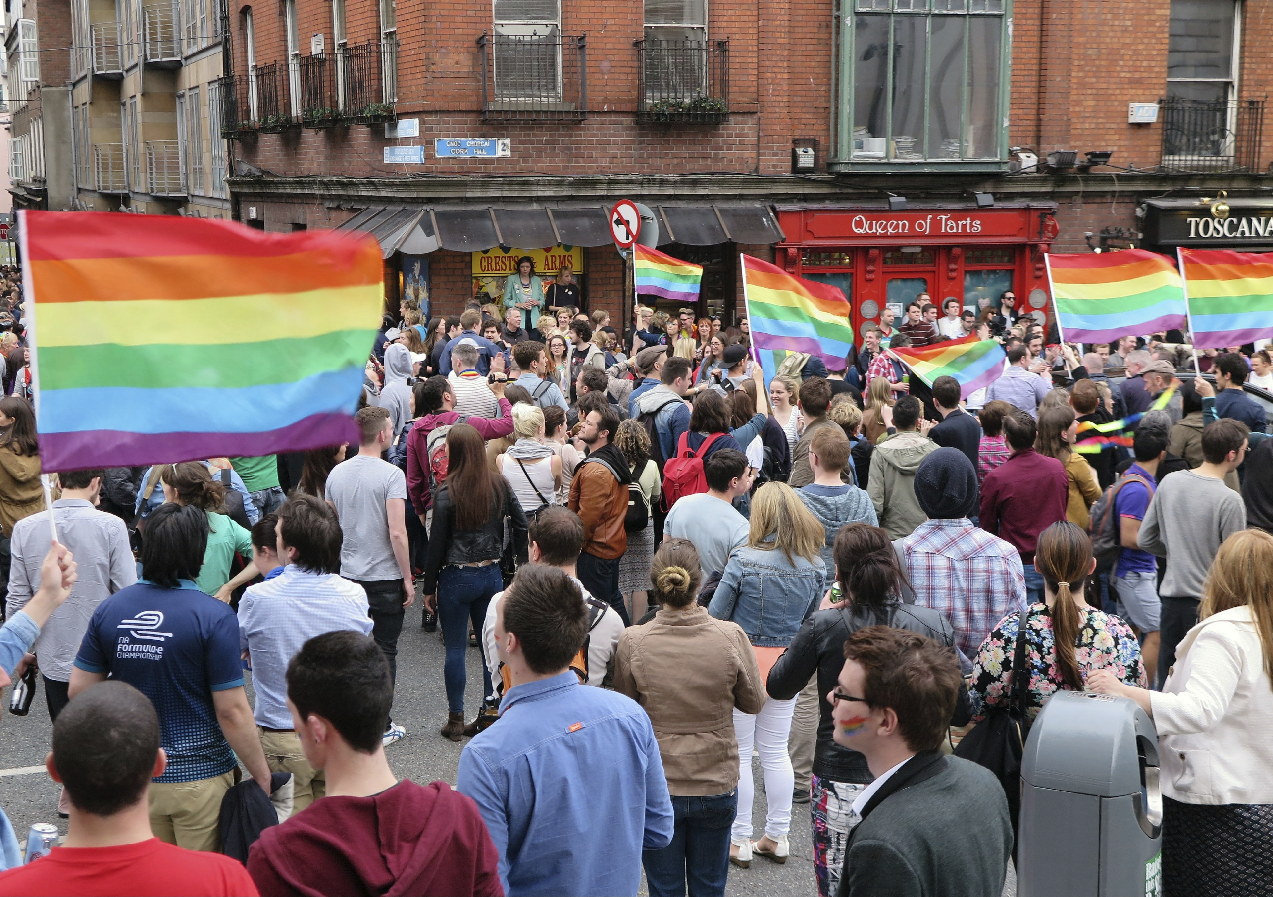 Supporters of marriage equality in Ireland celebrate victory in front of Dublin Castle. Image: iStock