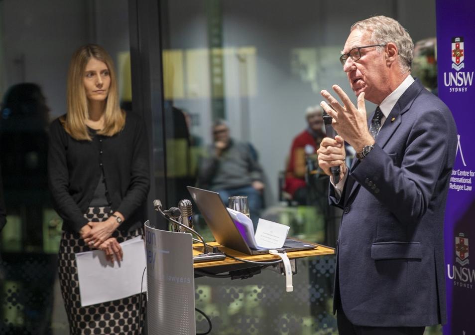 UNSW Chancellor David Gonski launches the new principles, accompanied by Scientia Professor of Law Jane McAdam. Photo: Quentin Jones