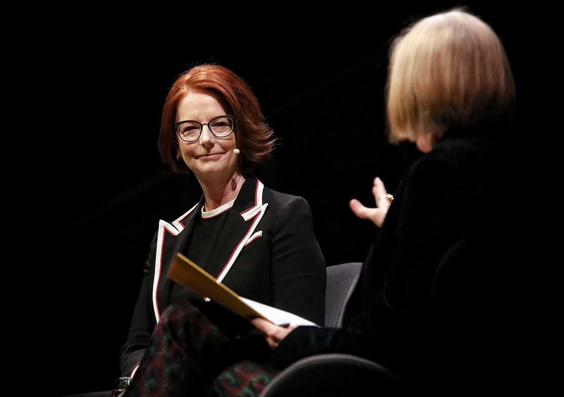 Former Prime Minister Julia Gillard chats with Jenny Brockie at Sydney's Town Hall. Photo: Prudence Upton