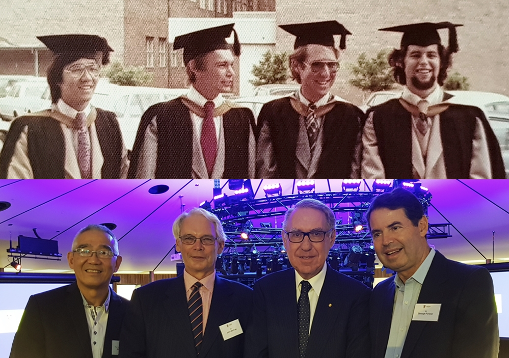 Then and now: David Wong, John Bartrop, David Gonski and George Forster (from left) in their days at UNSW, and at the UNSW Law 40th Year Alumni Reunion in March.
