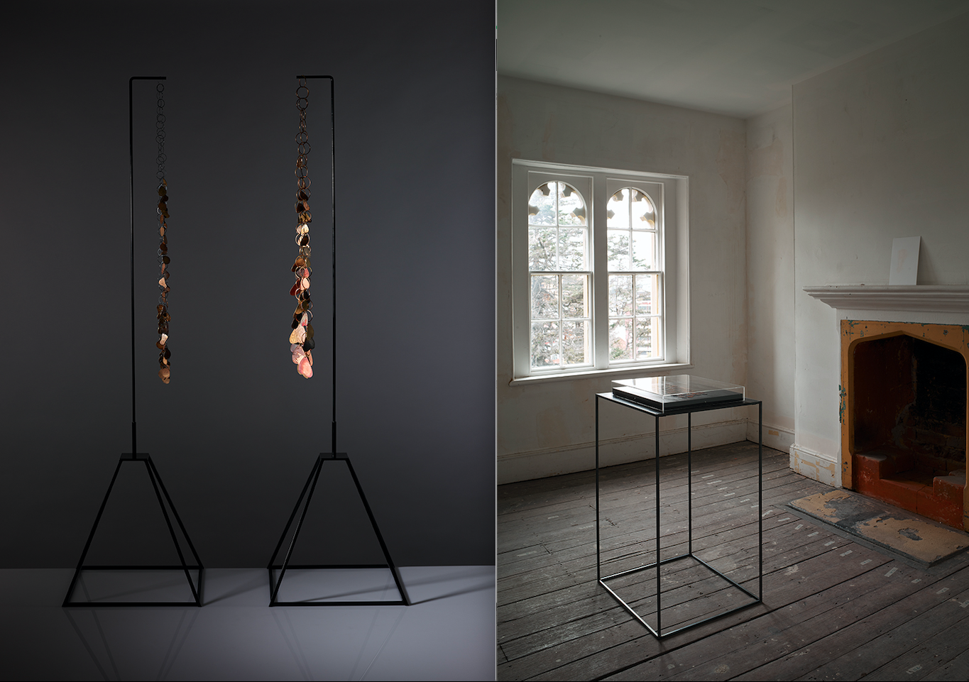 Stands displaying two strands of art jewellery (left) and a room with a display case, double windows and a fireplace (right)