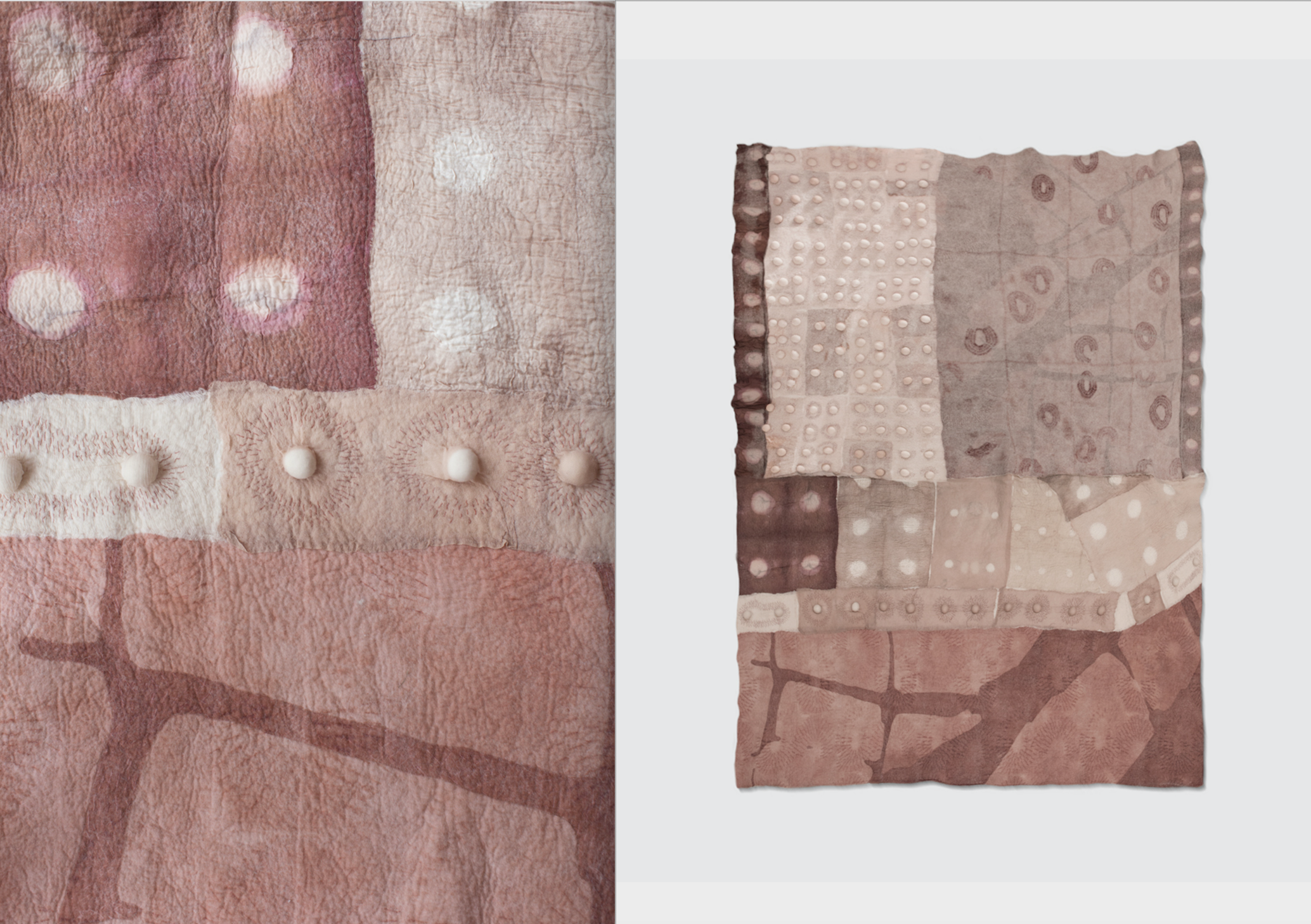 Detail and full quilt in earthy pinks, apricots, and warm browns made by Emma Peters