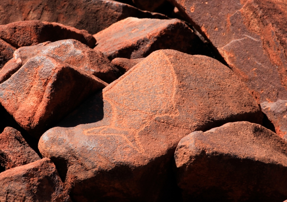"""BHP recently said it will not damage 40 Aboriginal heritage sites which it received ministerial permission to destroy without """"further extensive consultation"""" with traditional owners, the Banjima people, after outcry over Rio Tinto's destruction of Juukan Gorge. Fish engraving on the Burrup Peninsula in the Pilbara, Western Australia. Photo: Shutterstock"""