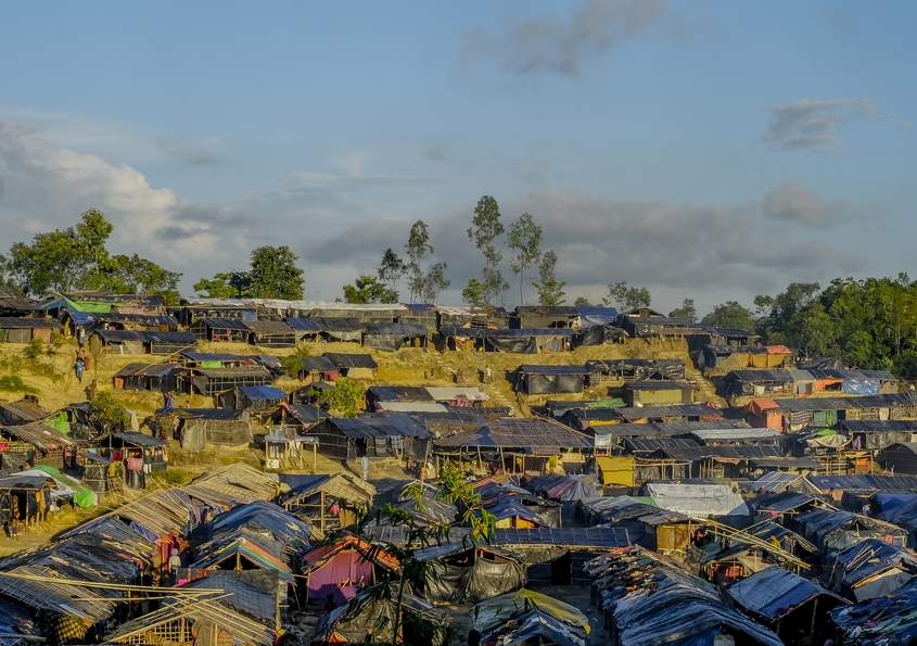 Rows of crowded refugee housing at Cox's Bazar, Bangladesh