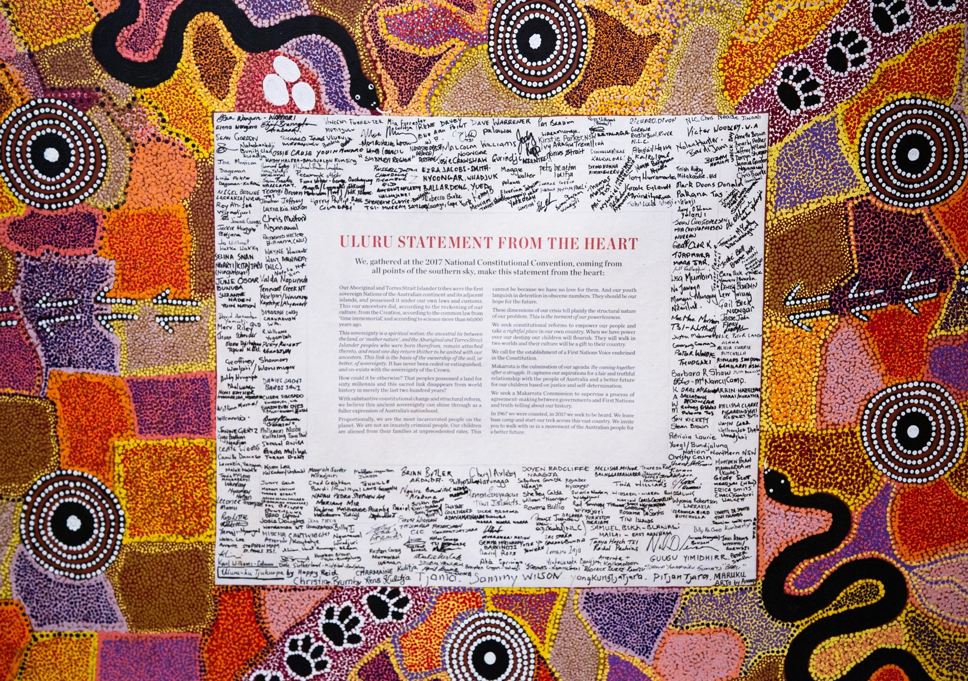 In 2017, Aboriginal and Torres Strait Islander delegates called for a First Nations Voice to Parliament, enshrined in the constitution, as outlined in the Uluru Statement from the Heart. Picture: UNSW Indigenous, Adam Phelan.