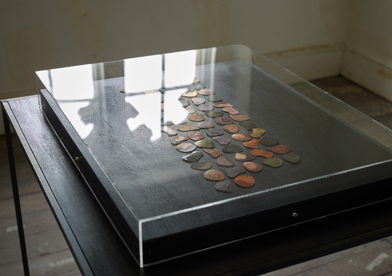A display case showing rose petal-shaped brooches crafted from metals